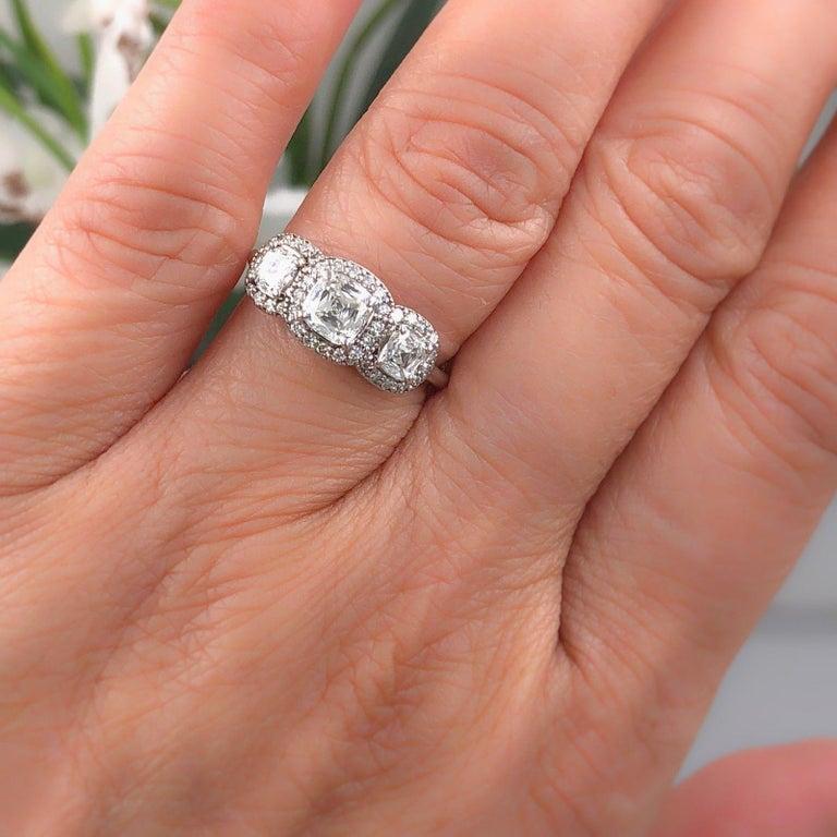 Cushion Cut Three Stone Cushion Diamond Engagement Ring 1.17 tcw Halo Design 14k White Gold For Sale