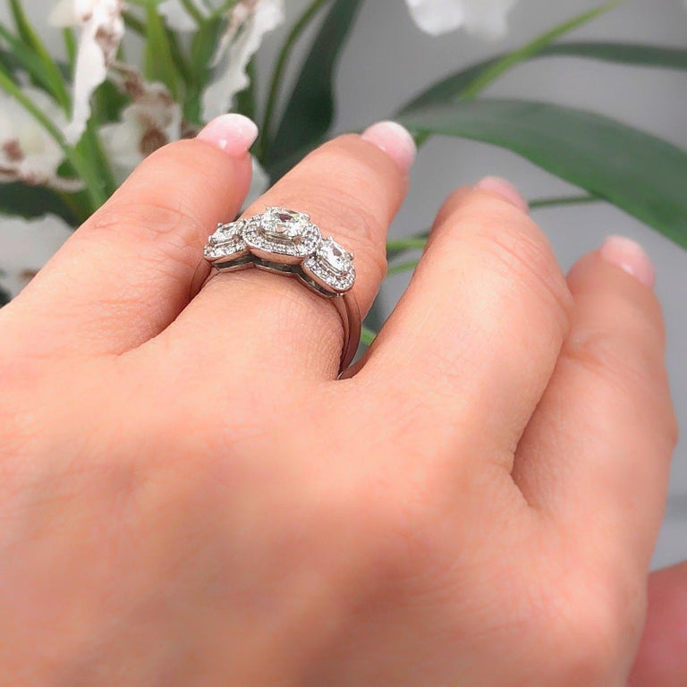 Three Stone Cushion Diamond Engagement Ring 1.17 tcw Halo Design 14k White Gold In Excellent Condition For Sale In San Diego, CA
