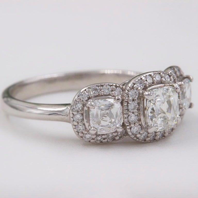 Women's Three Stone Cushion Diamond Engagement Ring 1.17 tcw Halo Design 14k White Gold For Sale