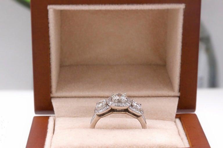 Three Stone Cushion Diamond Engagement Ring 1.17 tcw Halo Design 14k White Gold For Sale 1