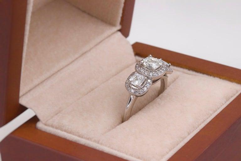 Three Stone Cushion Diamond Engagement Ring 1.17 tcw Halo Design 14k White Gold For Sale 2