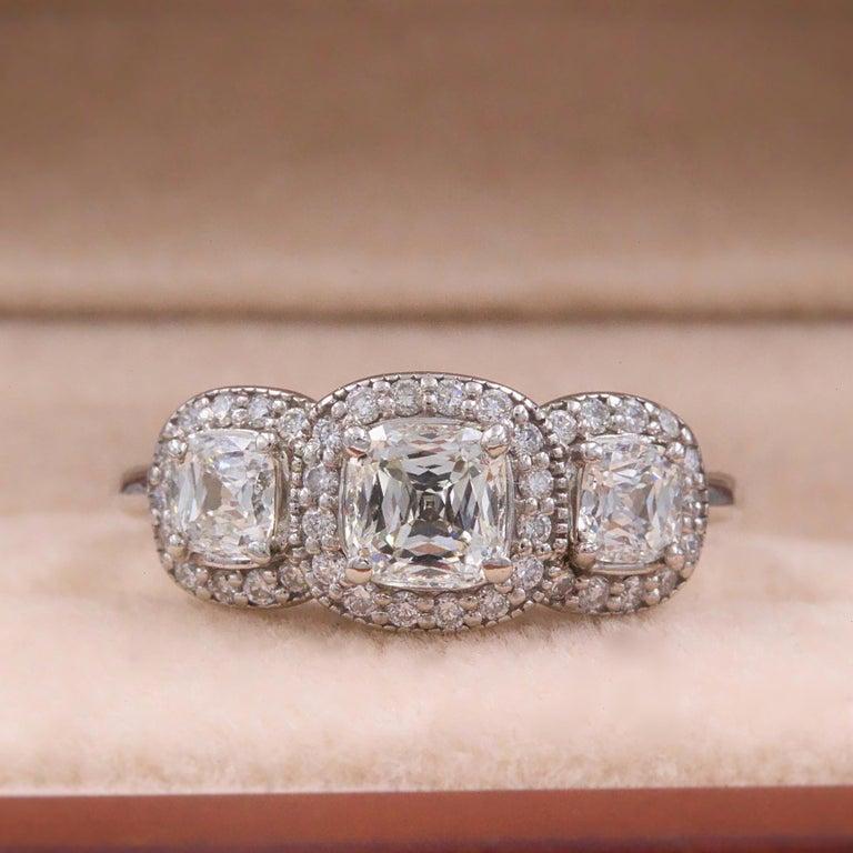 Three Stone Cushion Diamond Engagement Ring 1.17 tcw Halo Design 14k White Gold For Sale 3