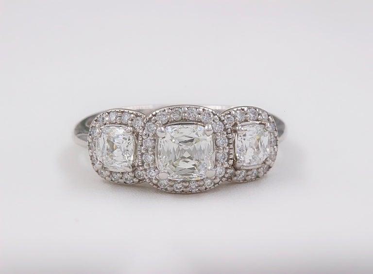 Three Stone Cushion Diamond Engagement Ring 1.17 tcw Halo Design 14k White Gold For Sale 4