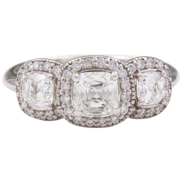 Three Stone Cushion Diamond Engagement Ring 1.17 tcw Halo Design 14k White Gold For Sale