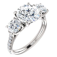 Three-Stone Diamond Accented Round Brilliant GIA Certified Engagement Ring