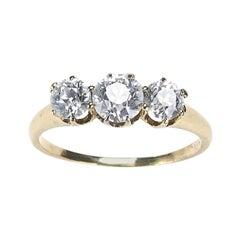 Three-Stone Diamond and Gold Ring 1.30 Carat, Circa 1920
