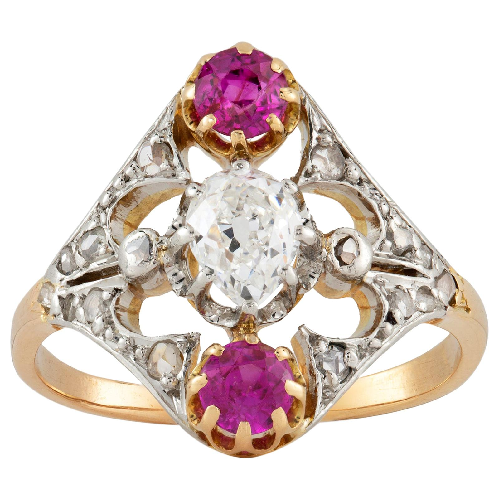 Three-Stone Diamond and Pink Sapphire Ring
