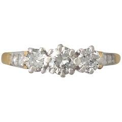 Three-Stone Diamond and Yellow Gold Ring