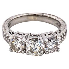 Three-Stone Diamond Antique Style Engagement Ring