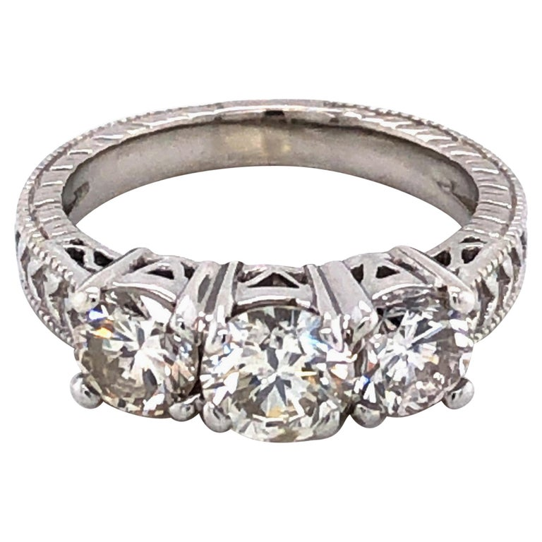 Three-Stone Diamond Antique Style Engagement Ring For Sale
