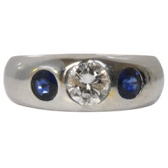 Three-Stone Diamond and Blue Sapphire White Gold Ring