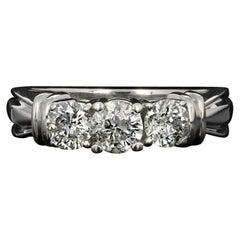 Three-Stone Diamond Engagement Ring, 14 Karat White Gold Round Cut 1.00 Carat