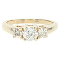 Three-Stone Diamond Engagement Ring, 14 Karat Yellow Gold Round Cut 1.24 Carat