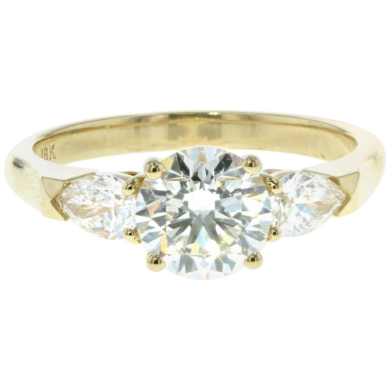Three Stone Diamond Engagement Ring (Yellow Gold, Certified)  For Sale