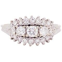 Three-Stone Diamond Estate Ring Past Present Future 14 Karat White Gold