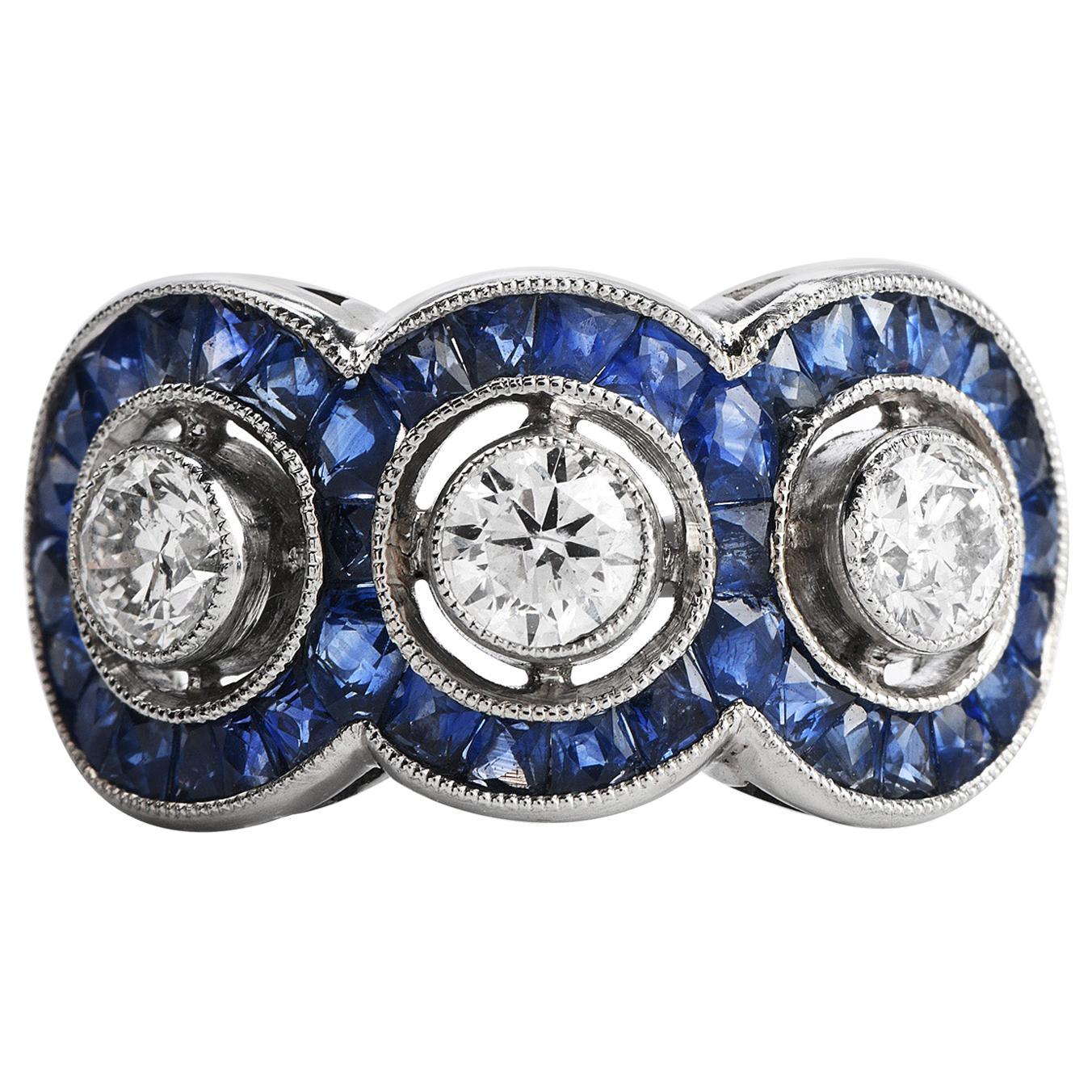 Three-Stone Diamond French-Cut Sapphire Platinum Ring