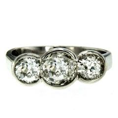 Three-Stone Diamond Gold Ring