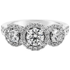 Roman Malakov Three-Stone Diamond Halo White Gold Engagement Ring