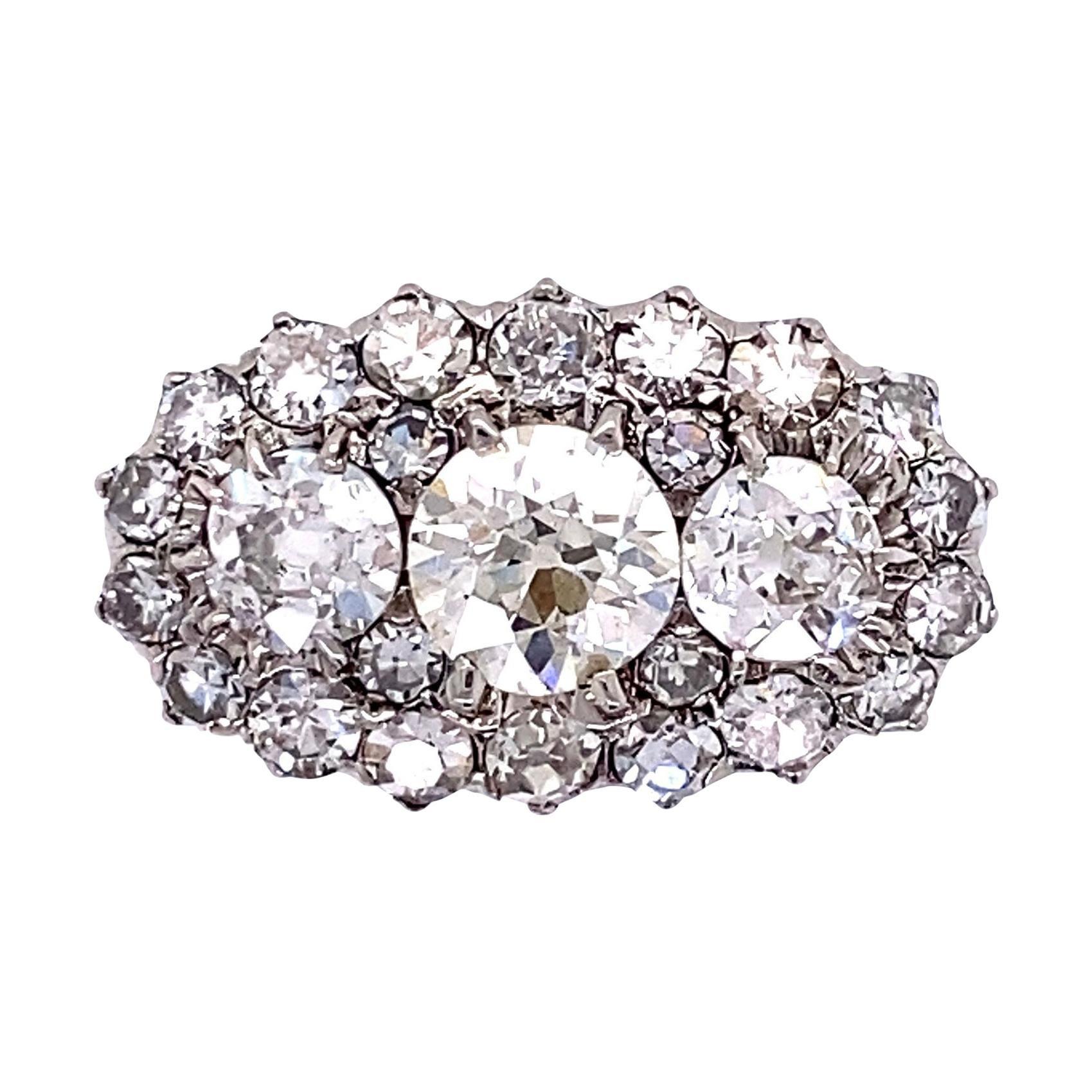 Three-Stone Diamond Platinum Ring Fine Estate Jewelry