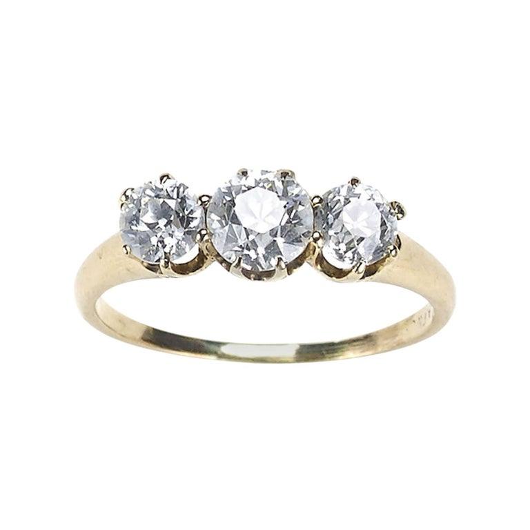Three-Stone Diamond Ring 1.30 Carat For Sale