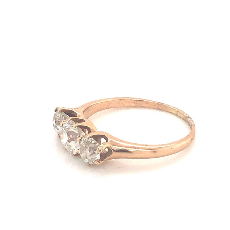 Old European Cut Three-Stone Diamond Ring 1.30 Carat For Sale