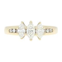 Three-Stone Diamond Ring, 14 Karat Yellow Gold Marquise Cut 1.00 Carat