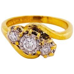 Three-Stone Diamond Ring 18K Yellow Gold Past Present Future Bypass Ring 3-Stone