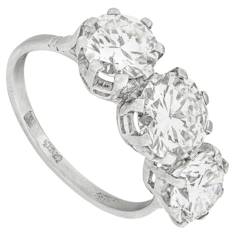 Three-Stone Diamond Ring For Sale