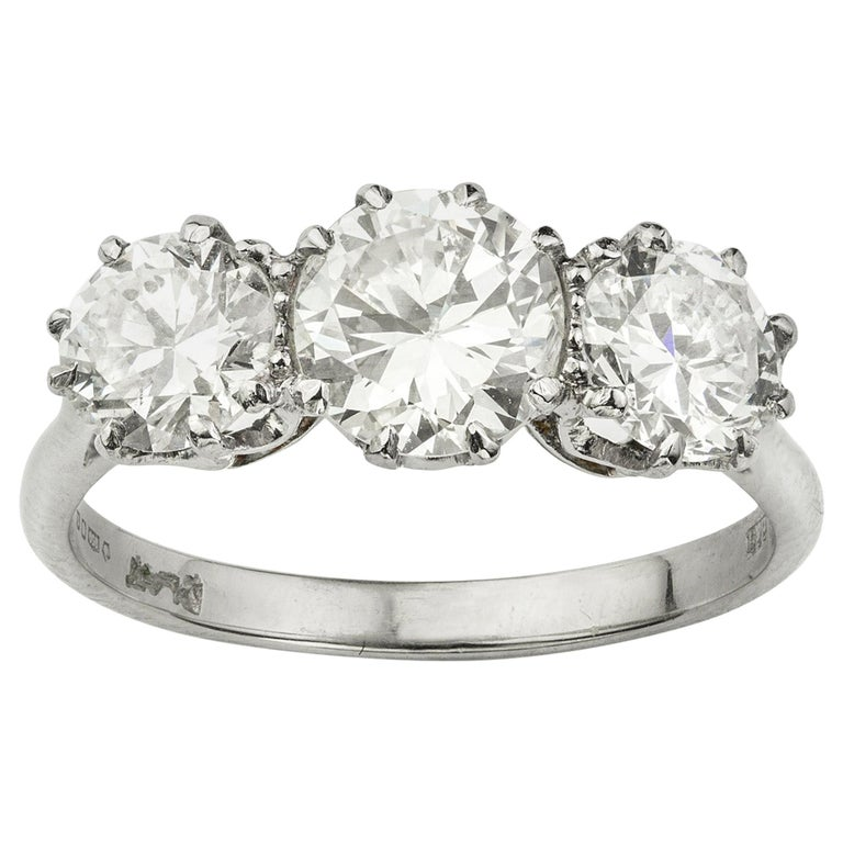 Three-Stone Diamond Ring For Sale