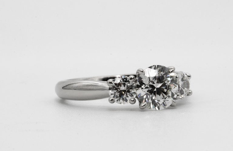 Contemporary  Three stone diamond ring with 1.09 Center, in Platinum, by The Diamond Oak
