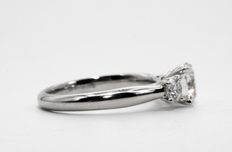 Round Cut  Three stone diamond ring with 1.09 Center, in Platinum, by The Diamond Oak