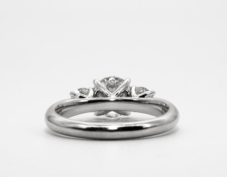Three stone diamond ring with 1.09 Center, in Platinum, by The Diamond Oak In New Condition In New York, NY