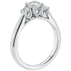 Three stone diamond ring with 1.09 Center, in Platinum, by The Diamond Oak
