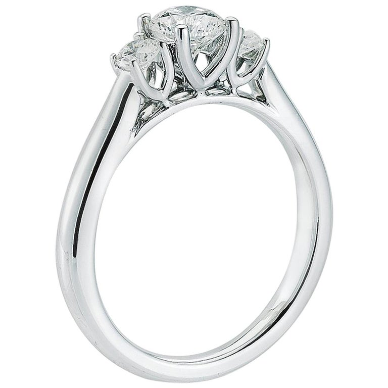 Three stone diamond ring with 1.09 Center, in Platinum, by The Diamond Oak