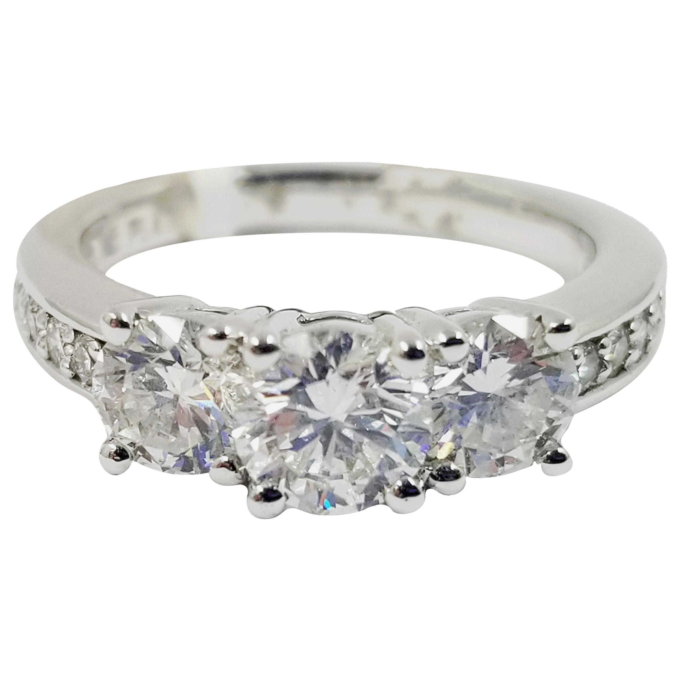Three-Stone Diamond Ring with Accents