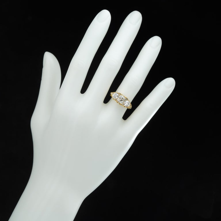 Women's or Men's Three-Stone Diamond Victorian Style Ring For Sale