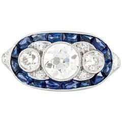 Three-Stone Diamond with Sapphire Ring