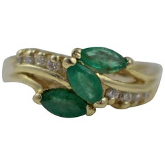 Three-Stone Emerald and Diamond 14 Karat Ring