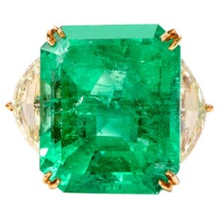 Three-Stone Emerald and Diamond 18 Karat Platinum Ring