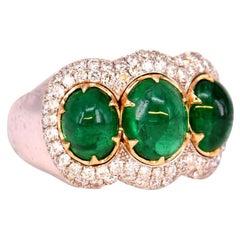 Three-Stone Emerald and Diamond Engagement Ring
