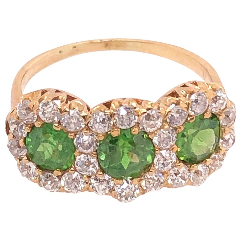 Three-Stone Emerald and Diamond Modern Ring For Sale