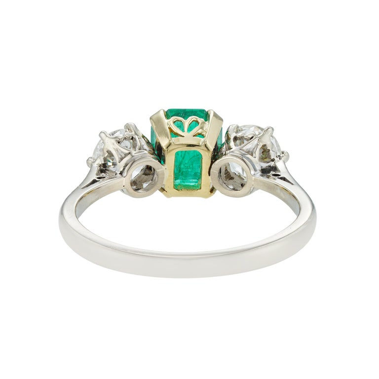 High Victorian Three-Stone Emerald and Diamond Ring For Sale