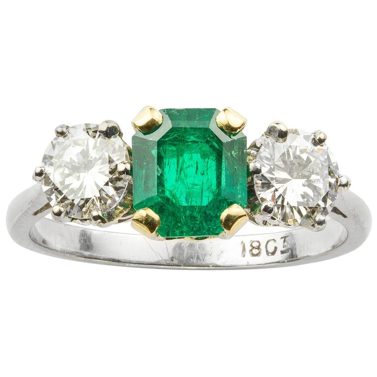 Three-Stone Emerald and Diamond Ring For Sale