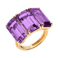 Goshwara Three-Stone Emerald Cut Amethyst Ring