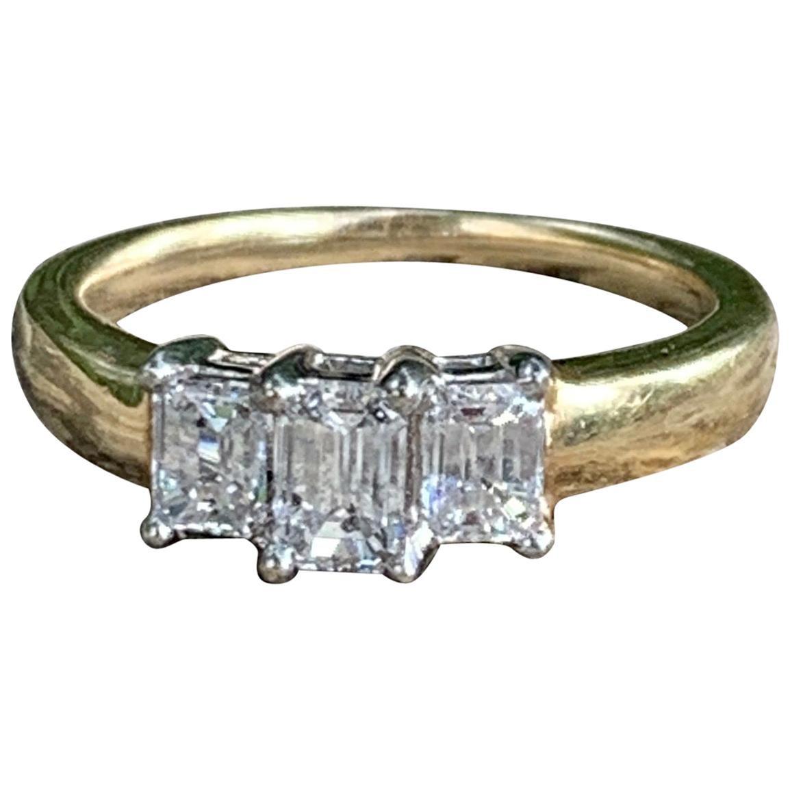 Three-Stone Emerald Cut Diamond 14 Karat Yellow and White Gold Ring - Size 8