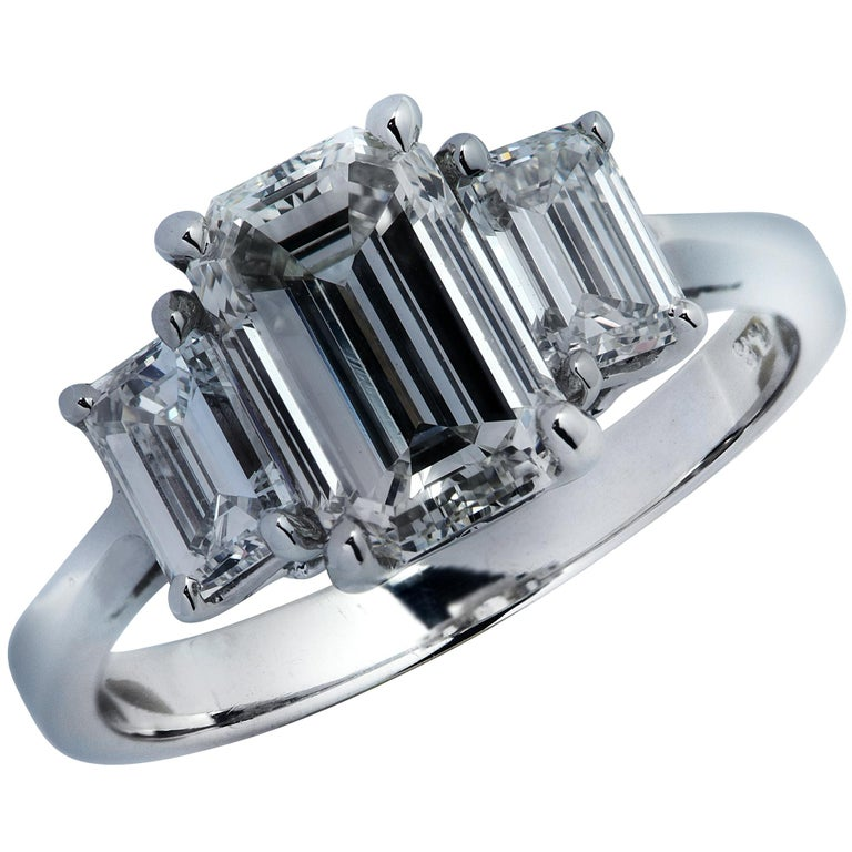 Three-Stone Emerald Cut Diamond Platinum Engagement Ring For Sale