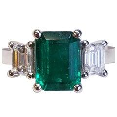 Three-Stone Emerald Cut Emerald and Diamond Platinum Ring