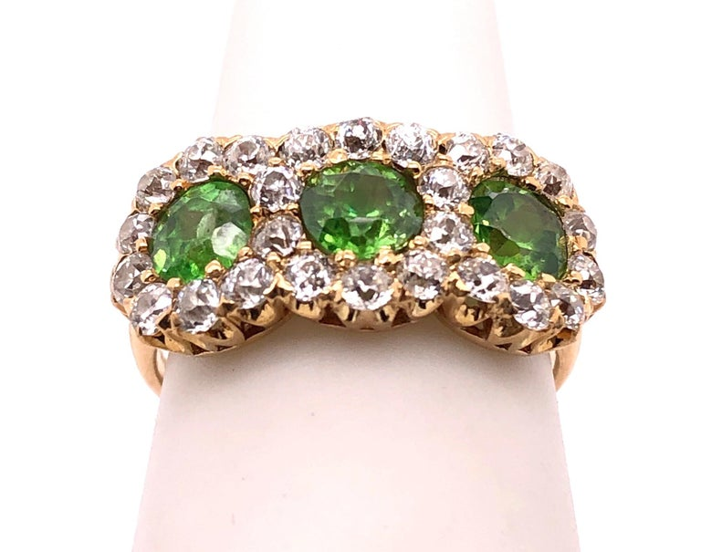Three-Stone Emerald and Diamond Modern Ring For Sale 6