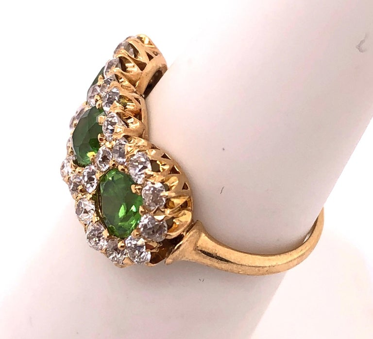 Women's or Men's Three-Stone Emerald and Diamond Modern Ring For Sale
