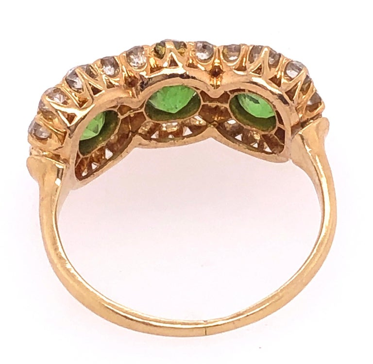 Three-Stone Emerald and Diamond Modern Ring For Sale 1